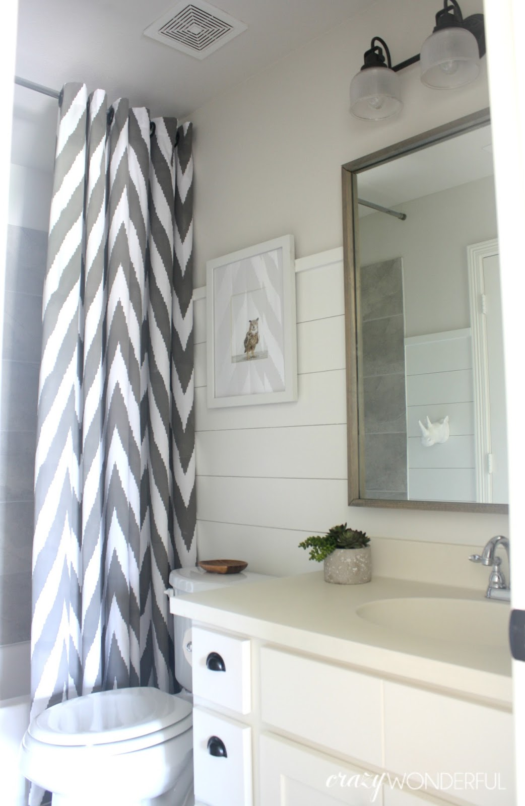 shiplap boy\'s bathroom reveal - Crazy Wonderful