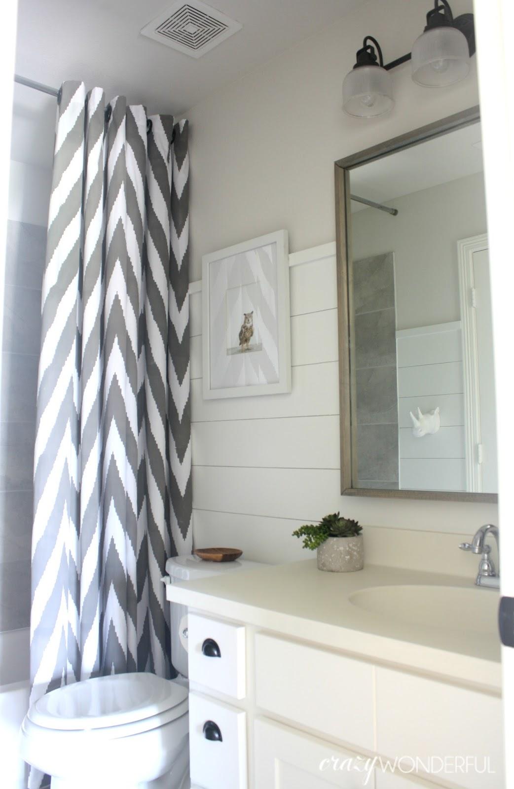 shiplap boy\'s bathroom reveal - Crazy Wonderful