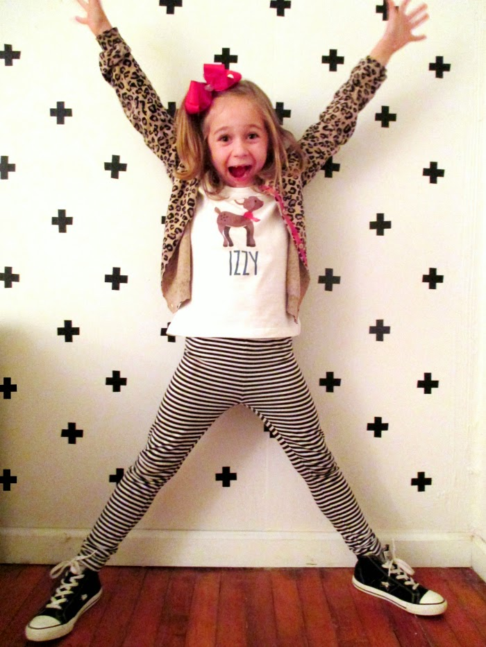 Kid's Christmas style stripes and leopard print