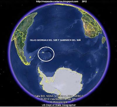 Ubicación de La ISLAS GEORGIAS DEL SUR Y SANDWICH DEL SUR , El Mundo. , Google Earth