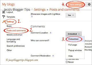 Screenshot to illustrate how to enable Threaded Comments on Blogger - Step 3