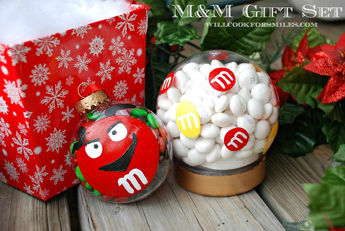 mm gift set mm ornament and candy snow globe