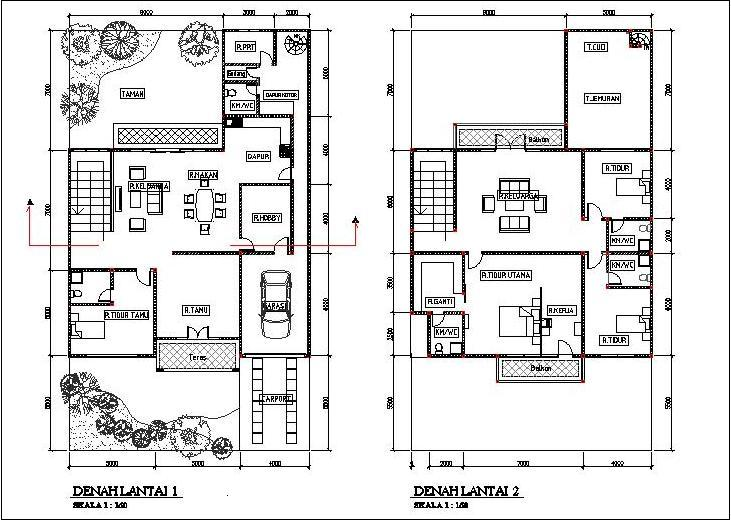 Denah Rumah 2 (dua) Lantai terbaru