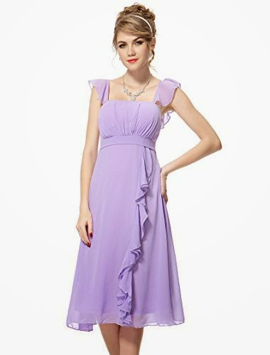 Pretty Ruffles Empire Waist Padded Summer Bridesmaids Dress