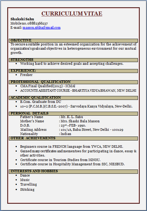 RESUME BLOG CO: Resume Sample: CMA Fresher