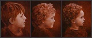 Painting right side profiles of three boys of various ages.