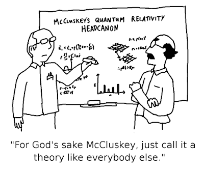 WHITEBOARD: McCluskey's Quantum Relativity Headcanon. PROFESSOR GODOT (FOR IT IS HE): For God's sake McCluskey, just call it a theory like everybody else.