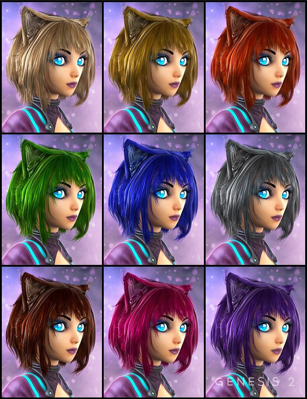 Anime Kitten cheveux pour Genesis 2 Femme