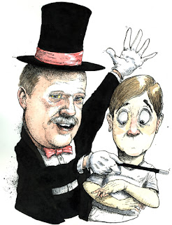 illustration of pennsylvania state representative glen grell of hampden township as a magician making the voice of the Harrisburg voter disappear for today's the day Harrisburg by ammon perry