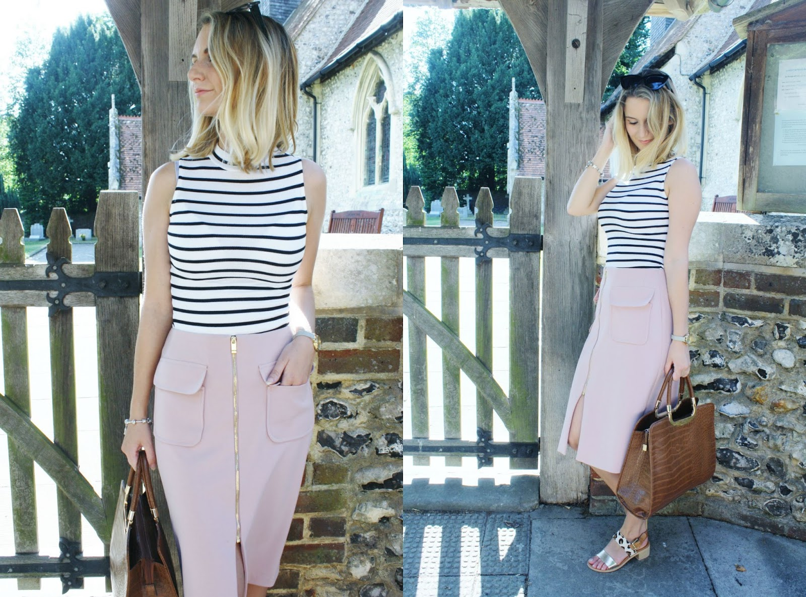 stripes and neutral colour palette styled outfit