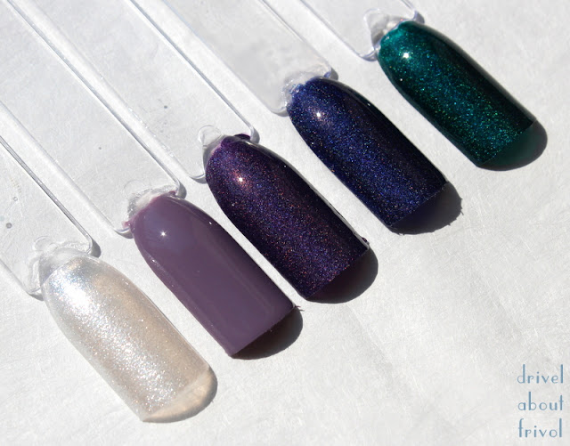 A-England nail polish swatches Morgan Le Fay, Guinevere, Lady of the Lake, Tristam, St George