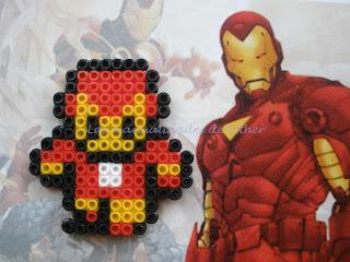 Imán hecho con Hama Beads de Iron Man