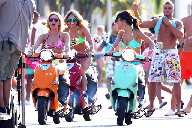 Selena Gomez, Vanessa Hudgens and Ashley Benson On Scooters . The four Spring Breakers girls were riding around on colorful scooters in the streets of St. Petersburg, Florida in bikinis. Incoming search terms: