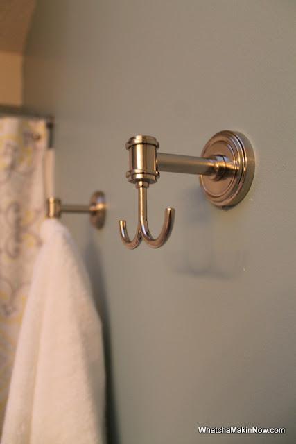 guest bathroom makeover - aqua, white, gray, yellow - @whatchamakinnow