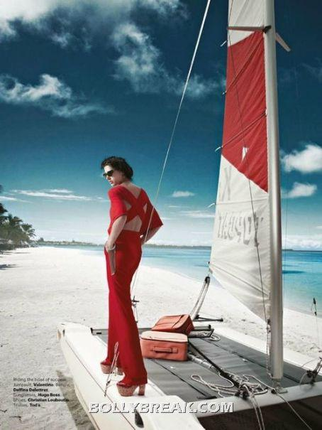 Nargis Fakhri in red hot dress harper mazaar - (3) - Nargis Fakhri Bikini Pics from Harper Bazaar Magazine Hot Scans