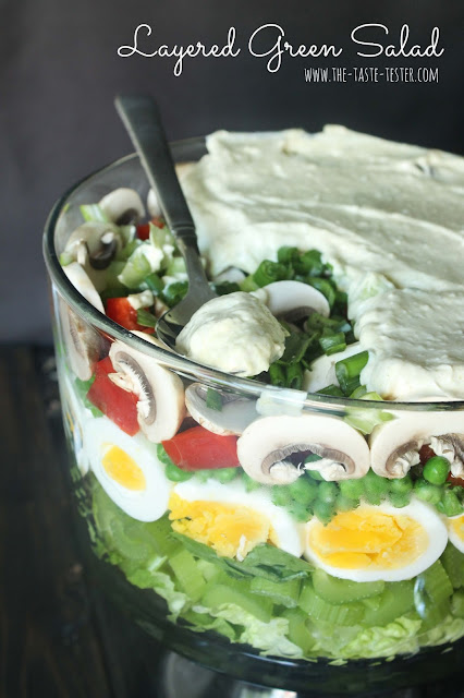 Layered Green Salad, the perfect side dish for any potluck! www.the-taste-tester.com | click for recipe