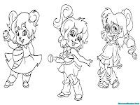 Mewarnai Gambar The Chipettes Dalam Serial Alvin And The Chipmunks