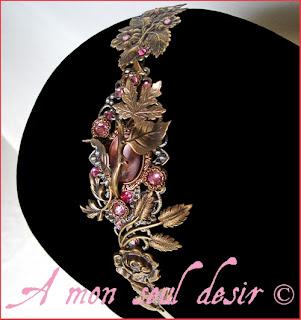 Serre-tête féerique elfique féerique floral végétal mariage strass Swarovski rose fairy elven pink rhinestones wedding headband