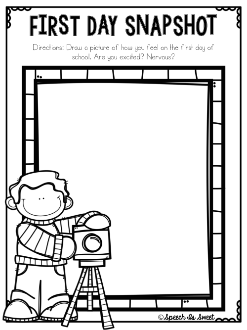 Speech is sweet first day jitters freebie for First day jitters coloring page