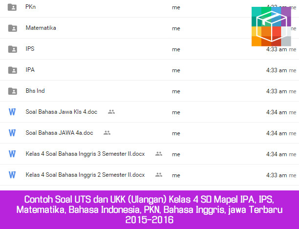 Contoh Soal UTS dan UKK (Ulangan) Kelas 4 SD Mapel IPA, IPS, Matematika, Bahasa Indonesia, PKN, Bahasa Inggris, jawa Terbaru 2015-2016