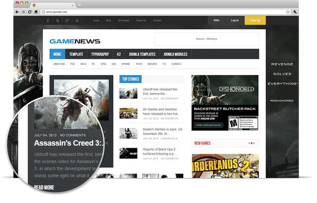 GK Game News Template For Joomla 2.5 ~ Download Template