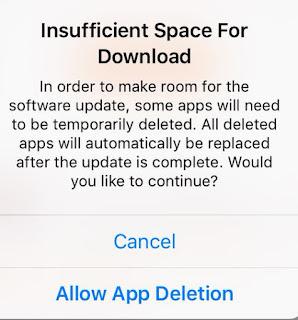 Espaço insuficiente para download - iOS 9