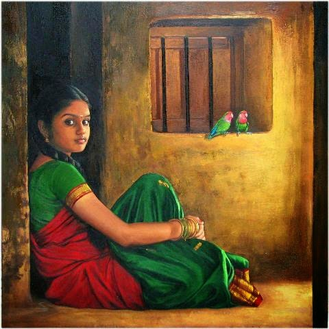 cool-oil-painting-of-south-indian-girl-s