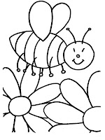 Flowering Bee Free Printable Kids Coloring Page