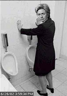 hillary stand up peeing