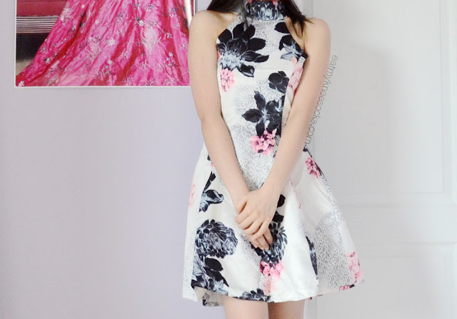 More photos of the gray-and-pink halterneck floral skater dress from Romwe.