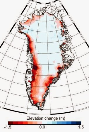 The change in height of Greenland's ice sheet between January 2011 and January 2014. (Credit: (c) Helm et al., The Cryosphere, 2014) Click to enlarge.