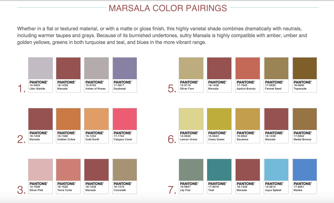 Marsala Color Pairings