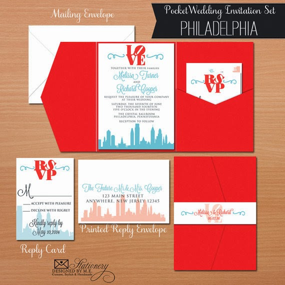Philadelphia Wedding Pocket Fold Invitation by Designed By M.E. Stationery