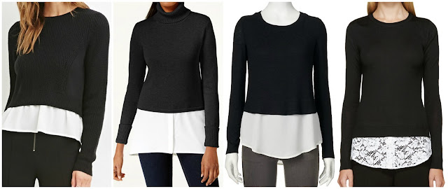 One of these layered sweaters is from Altuzarra for $795 and the other three are under $45. Can you guess which one is the designer sweater? Click the links below to see if you are correct!