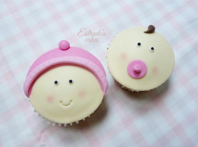cupcakes con fondant para nacimiento de niña - 2