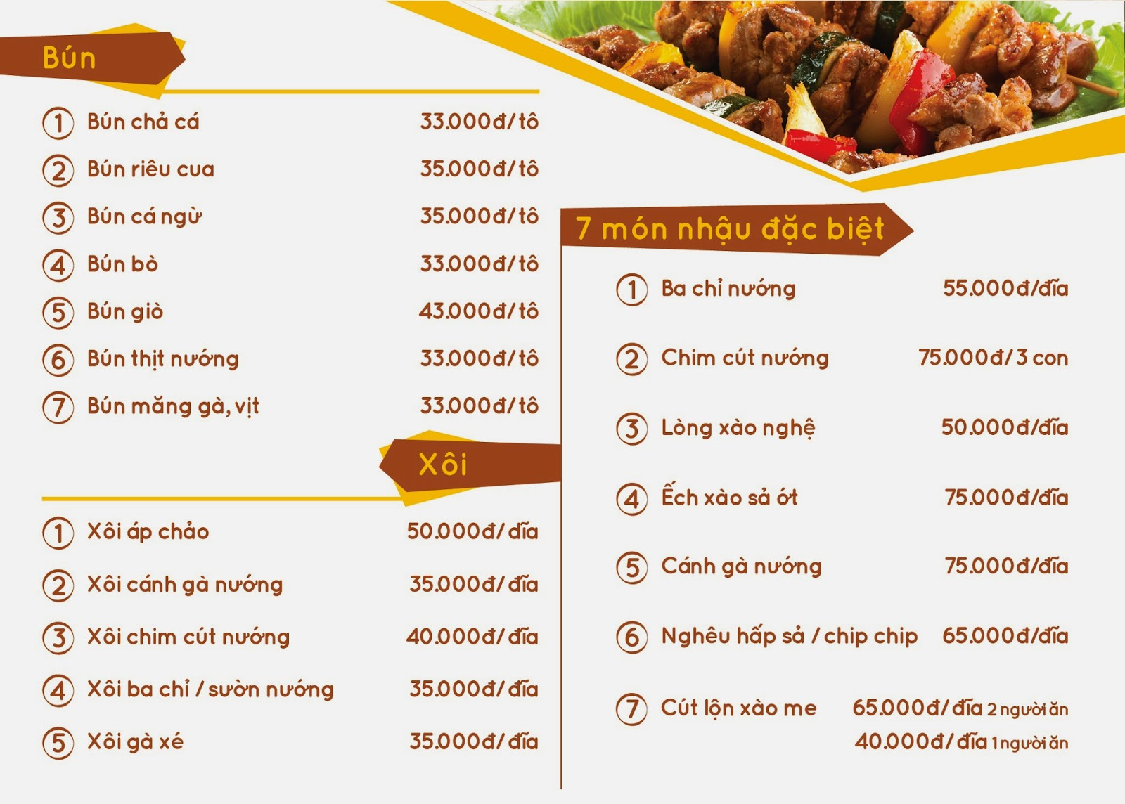 menu thức ăn đêm tại đà thành
