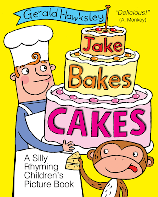 Picture of chef and monkey, being the cover of Jake Bakes Cakes, a silly rhyming children's picture book