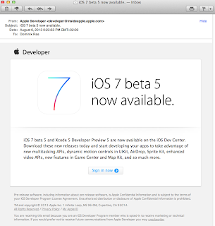 iOS 7 beta 5 and Xcode Developer Preview 5 are now available