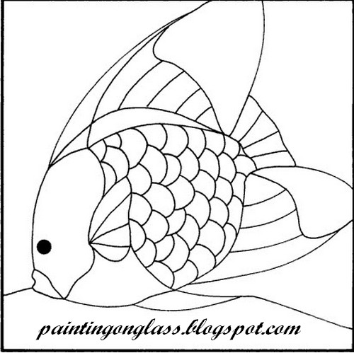 Stained glass angelfish pattern painting on glass for Stained glass fish patterns