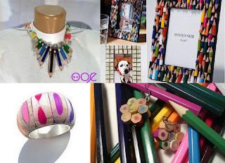 gioielli cornici con matite colorate