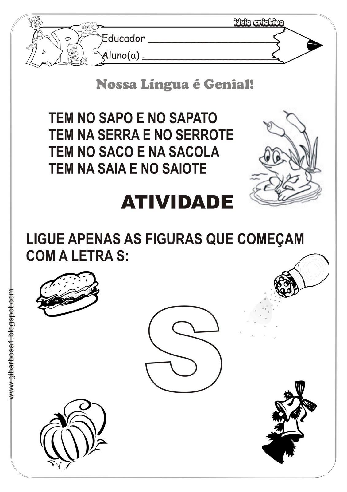 Preferência Atividades Letras do Alfabeto/ Consoantes de P á S | Ideia  LV09