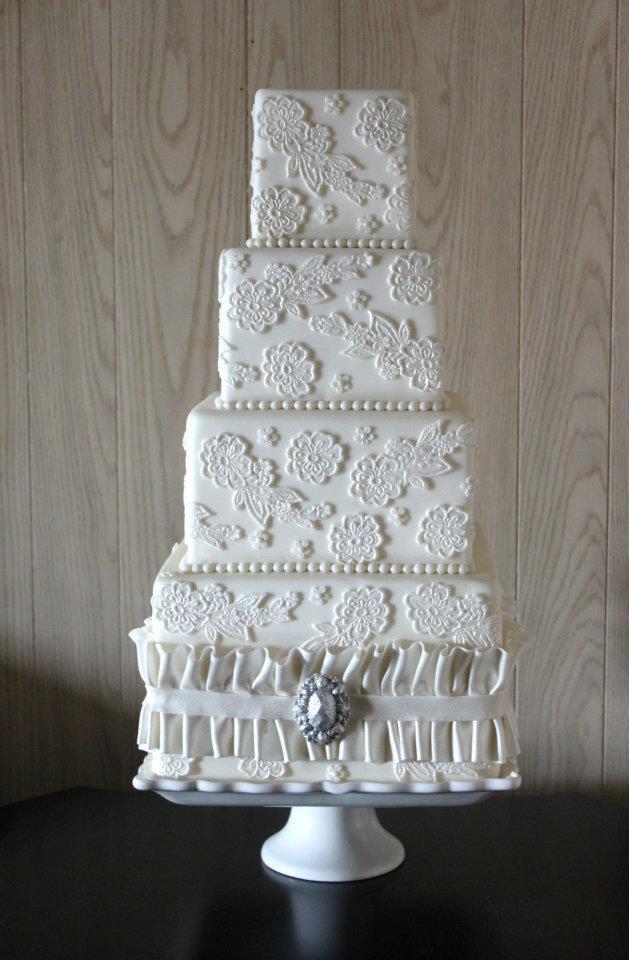 on to their wedding cakes
