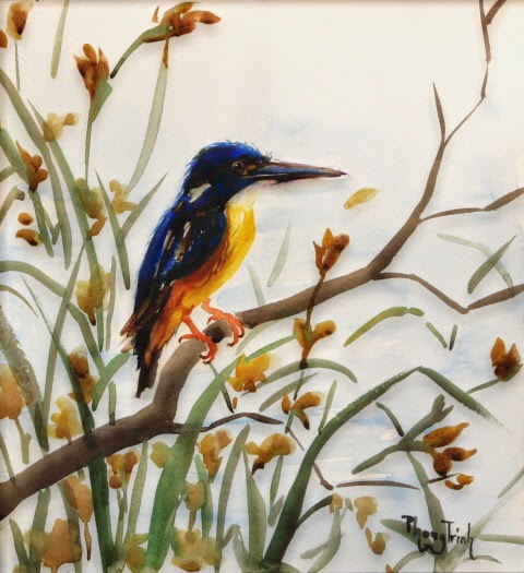 Beautiful Original Watercolor Painting Birds and Garden