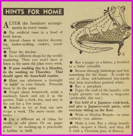 hints for combating boredom at home, 1950s