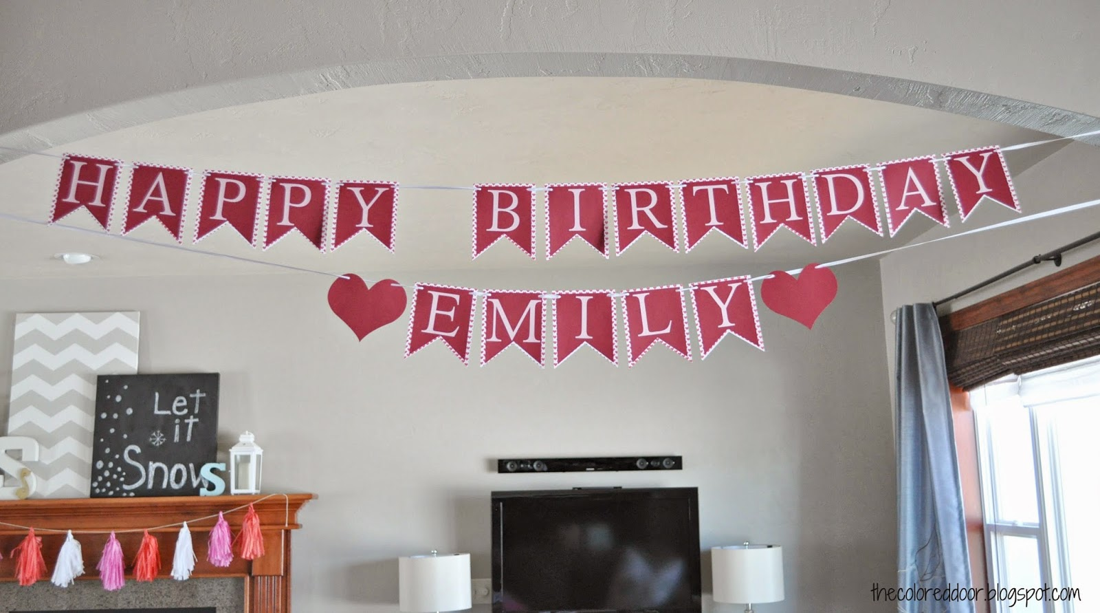 heart birthday banner - the colored door