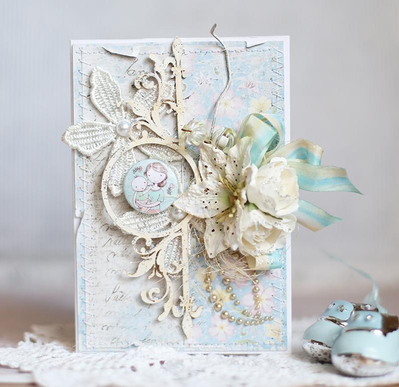 shabby chic baby card using maja design papers