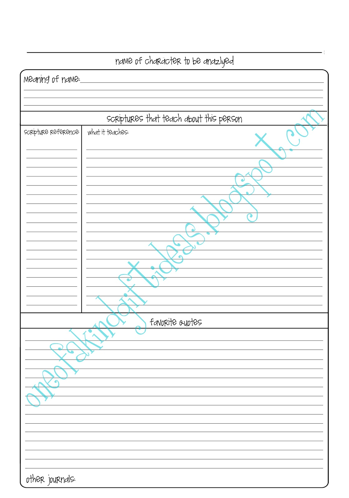 Journal Pages Templates Pictures to Pin PinsDaddy – Character Analysis Template