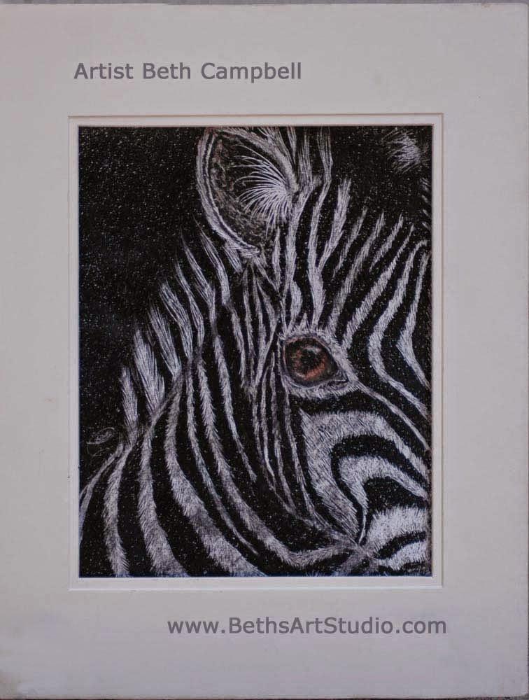 zebra crayola crayon painting Beth Campbell
