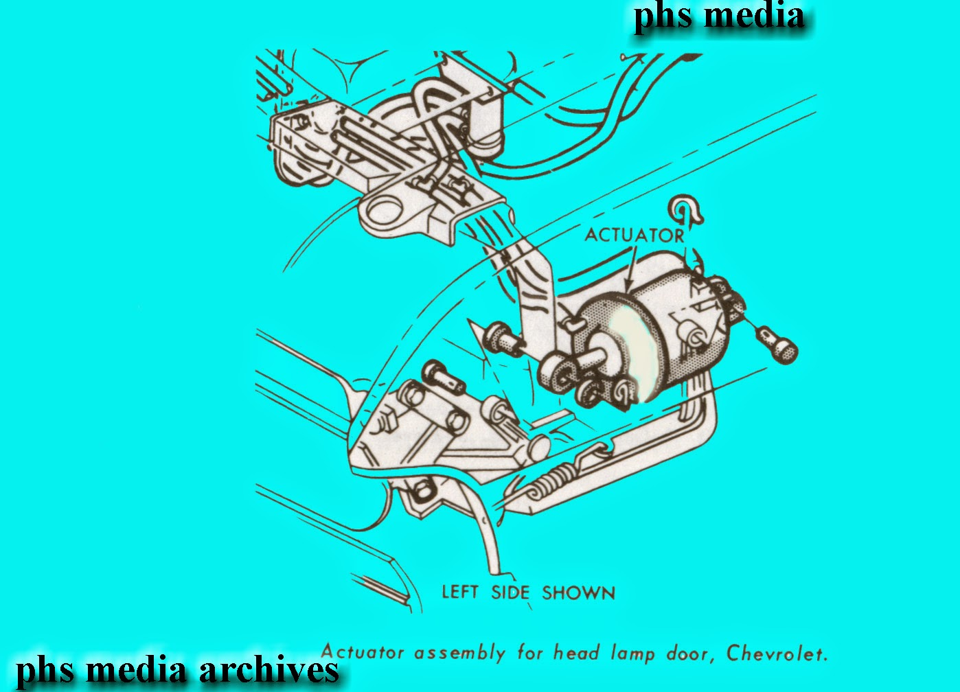 Tech Files Chevrolet Hidden Headlamp Door System Caprice Impala Emmison Pontica Engine Wiring Diagram The Black Ad Whit Portion Is With Hoses And Actuator