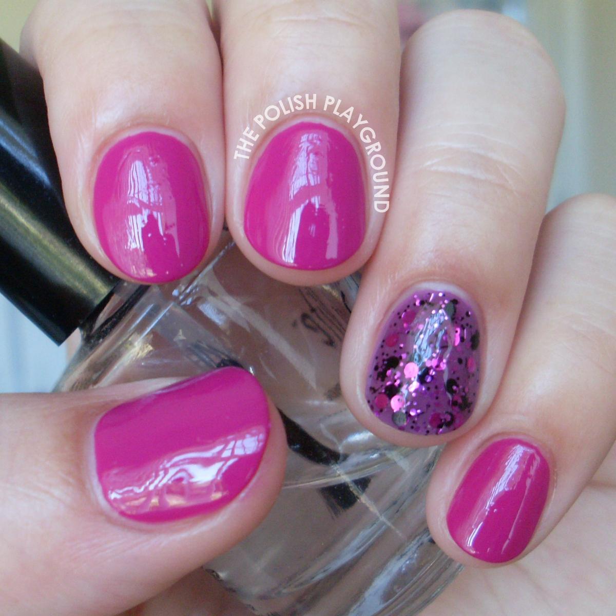 Revlon Rich Raspberry with Glitter Accent Nail Art